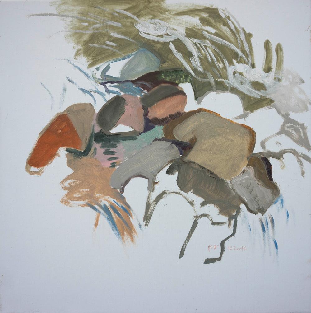 """10/20/14 north crestone creek  16x16"""" oil on portrait linen"""