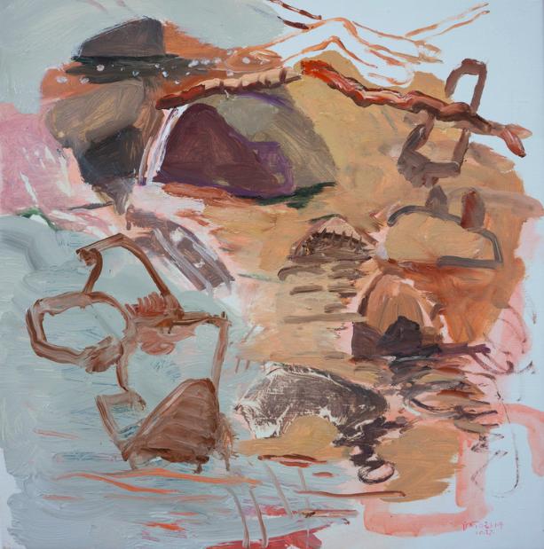 "10/26-7/14 n. crestone creek 16x16"" oil on portrait linen (revised the next day in my studio)"