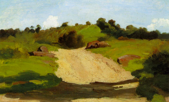 A Rising Path: Jean-Baptiste Camille Corot (1796-1875), c.1845, oil on canvas, 17.8 x 28.6 cm (private collection)