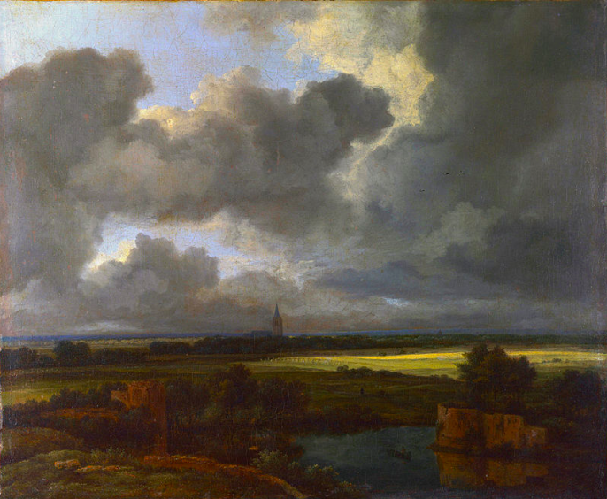 An Extensive Landscape with Ruins   . 1665-1675 (?).   oil on canvas  . 34 × 40 cm (13.4 × 15.7 in).   London  , National Gallery.