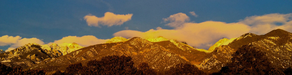 sunset, january 5, 2015. shot from our living room, looking east towards crestone peak.