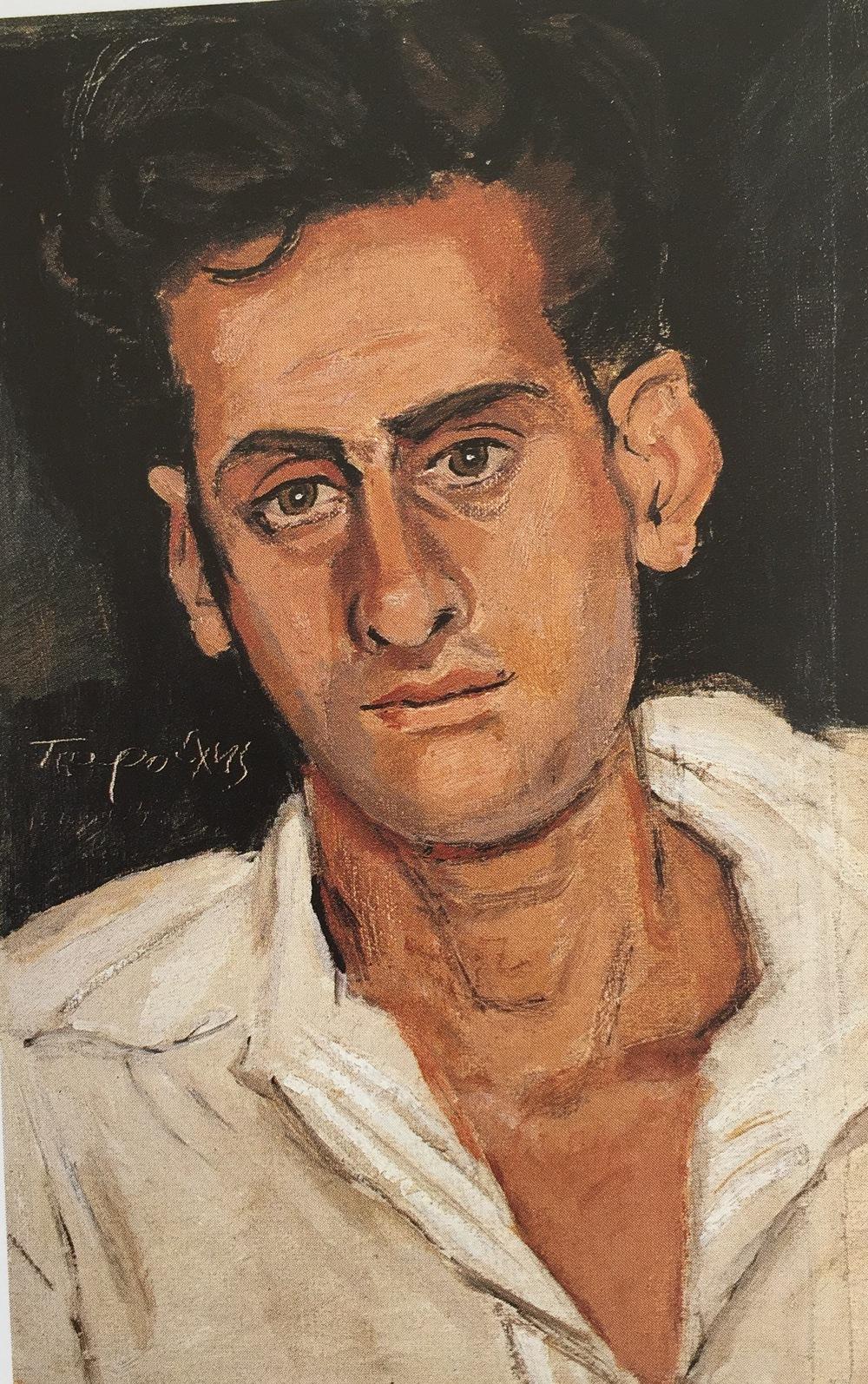 tsarouchis : portrait of m.a. oil on linen 40x26 cm.