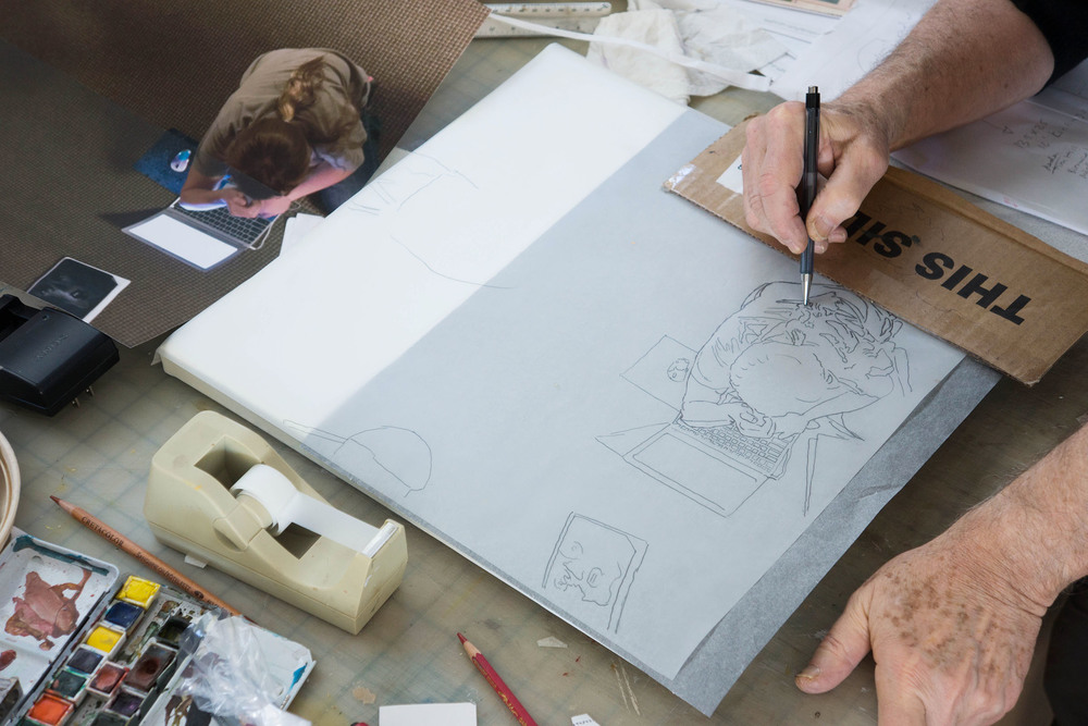 transferring the drawing for  parade 20  to the canvas