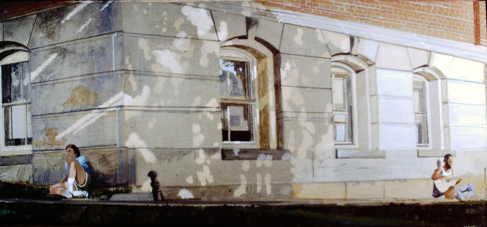 2 figures outside the northampton historical society   egg tempera on board  ca. 1981