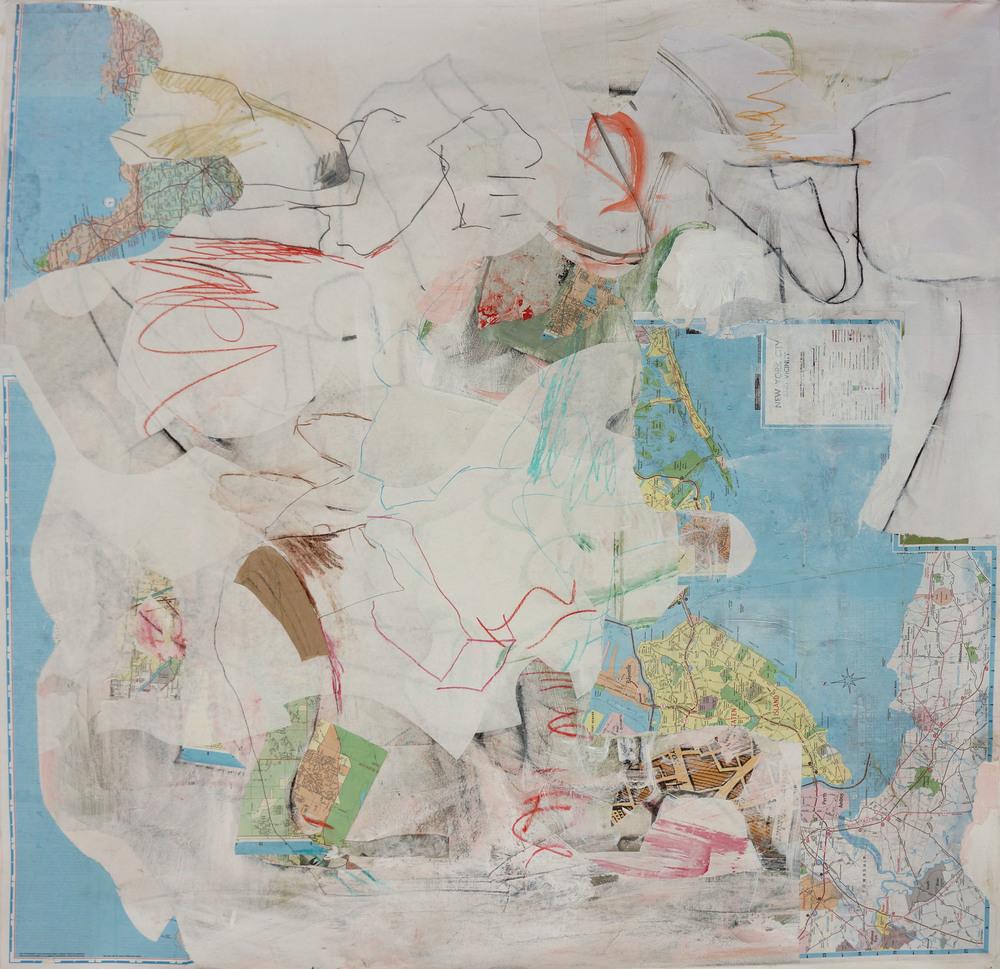 "xanadu way  32x32"" mixed media on canvas"