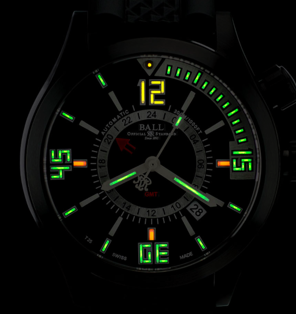 Ball Diver GMT night view with it's tritium tubes illuminating the dial