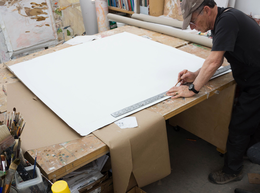 """creating the 48x48"""" boundaries of the painting, in order to know where to place the stretcher bar so it's squared up."""