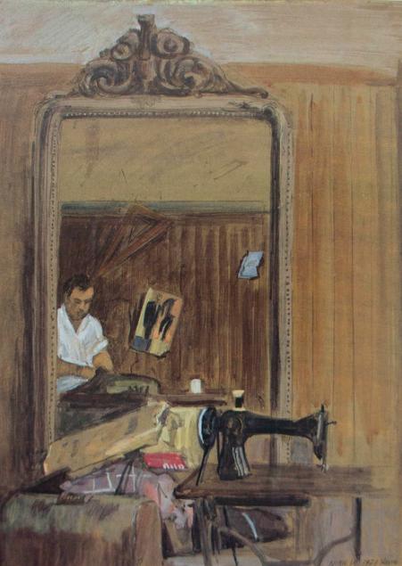 tailor shop in chania, crete  ca. 1972 gouache on paper