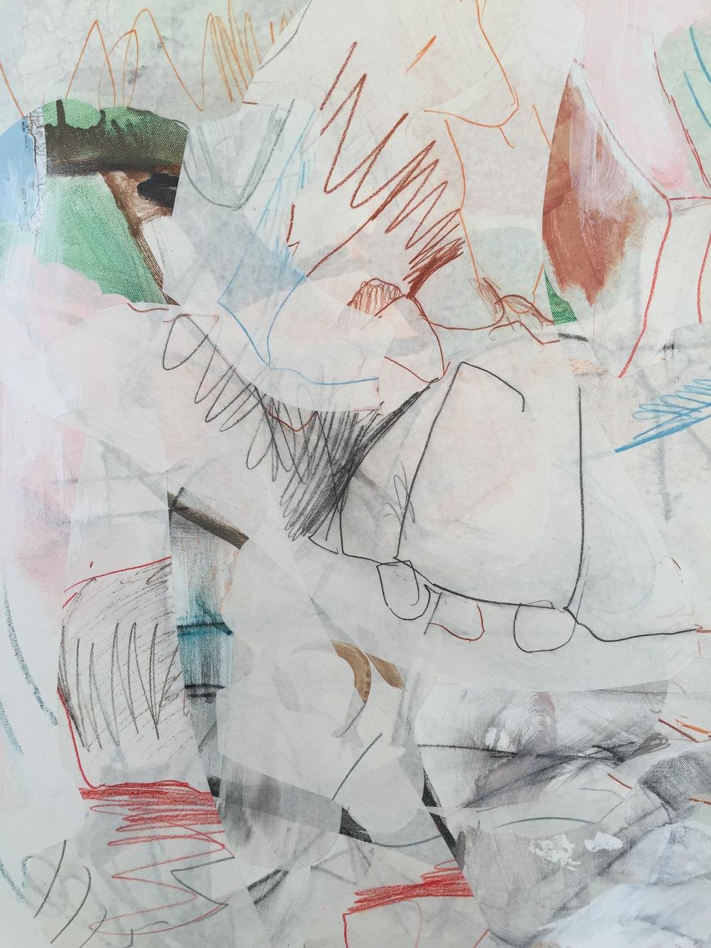 "DETAIL : lassia  50x50"" mixed media on canvas"