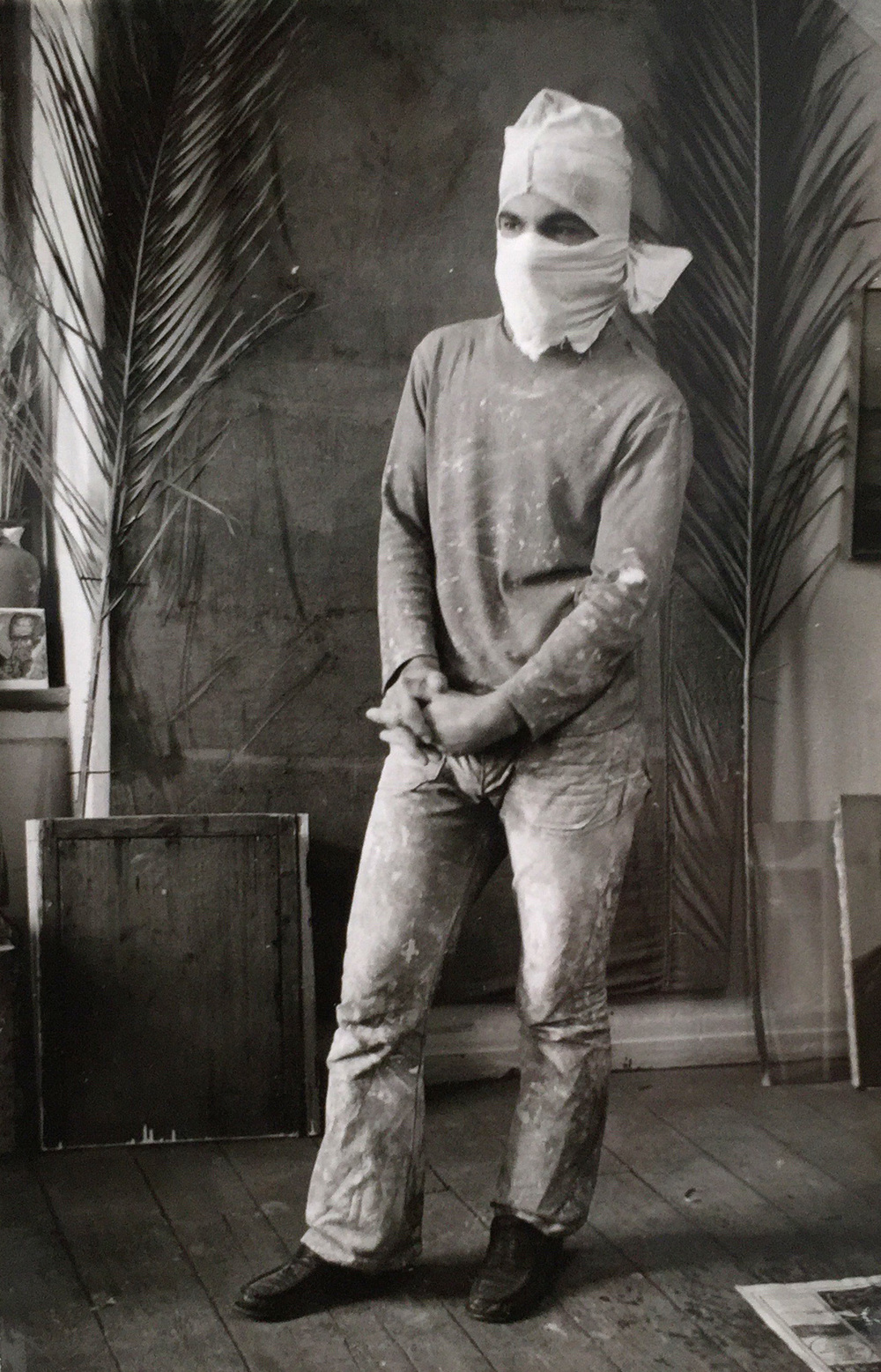 shot in my studio in the plaka , athens, greece:a construction worker i photographed then painted, 1975