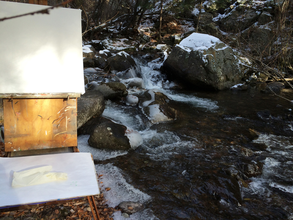 shot while painting plein air in icy weather at north crestone creek