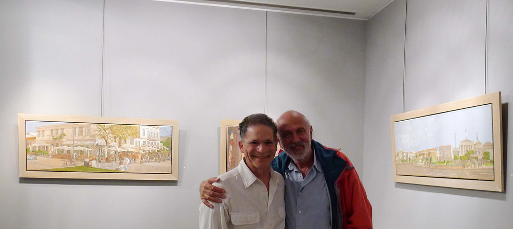 with  angelos deliveries , curator of the benaki museum at the opening of my 2010 exhibition,  skoufa gallery , athens