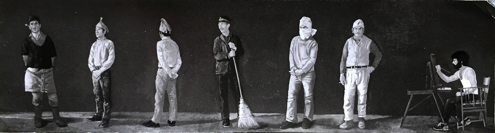 "the artist with construction workers  1975  about 15x70"" oil on linen, in a private collection; currently investigating whereabouts"