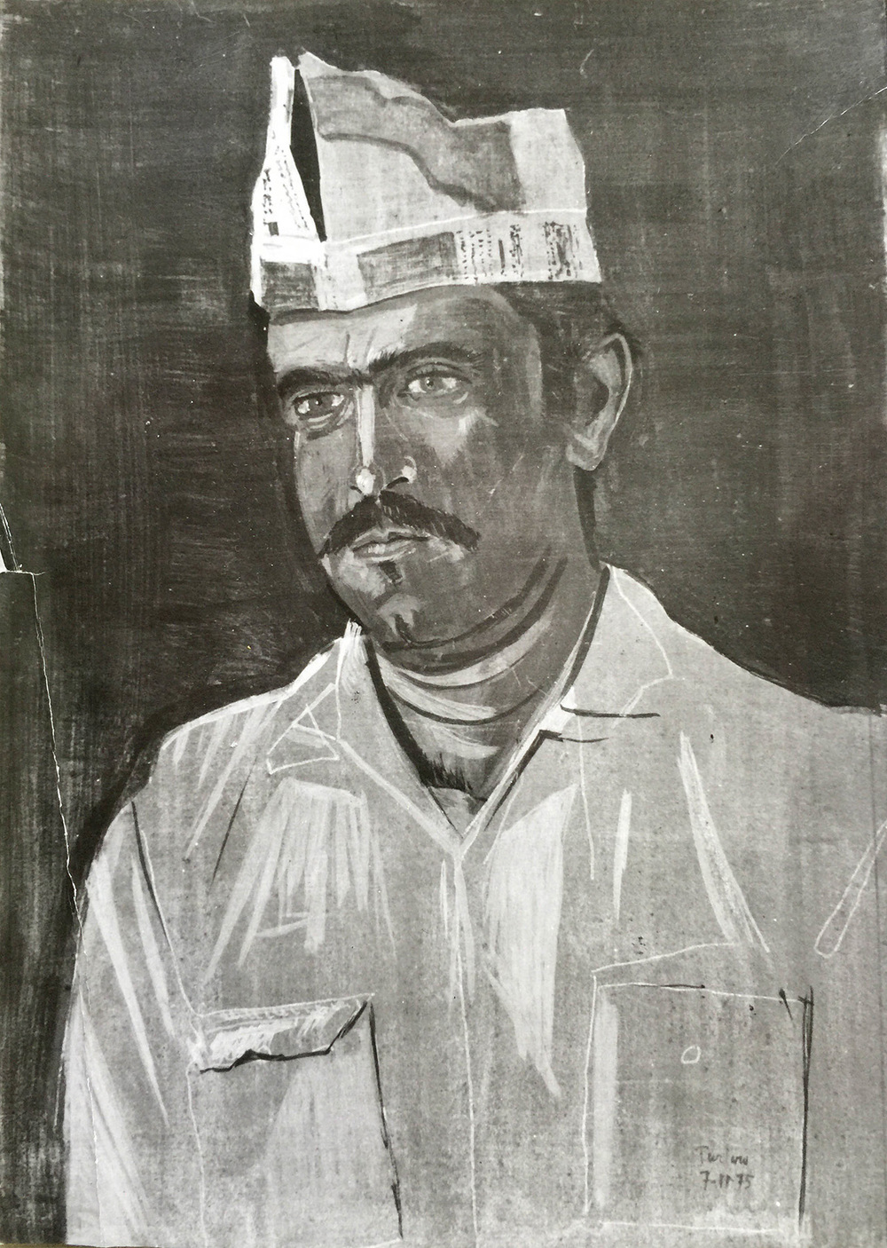 """construction worker with newspaper hat  1975 about 12""""x8"""" egg temperaon board, private collection, athens"""