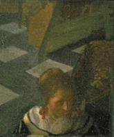 detail of a  vermeer  painting of a mirror