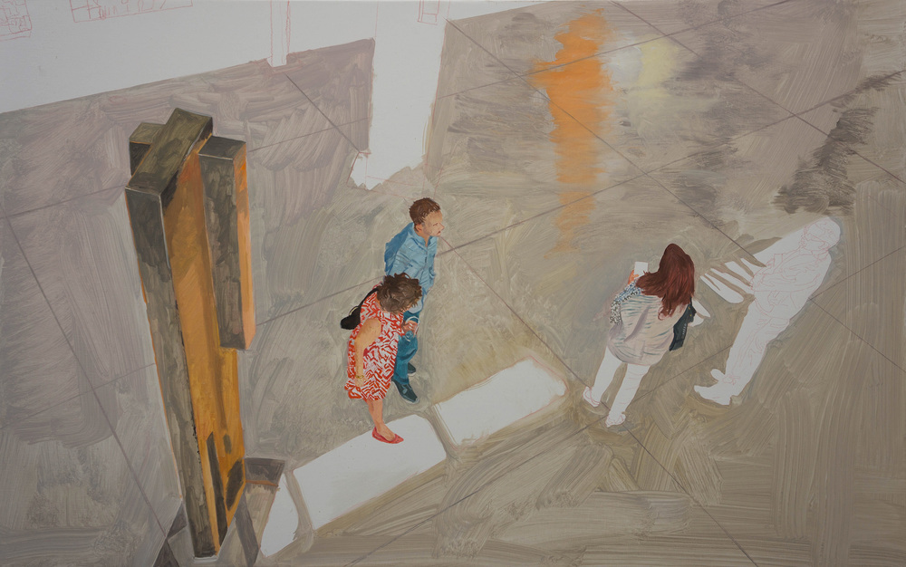 """parade 51  at 1:45 pm today. it's 35x56"""", oil on portrait linen"""