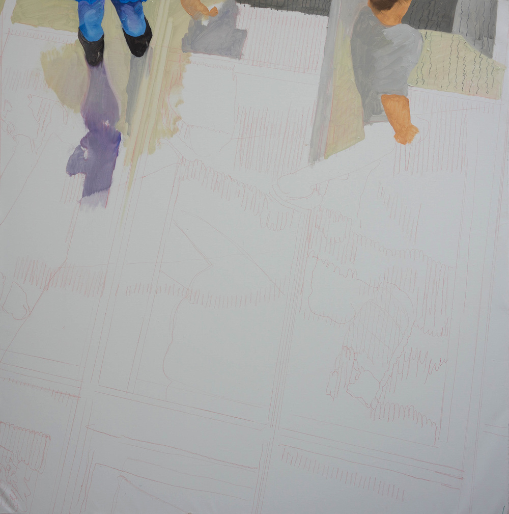 "parade 52   48x48""  oil on portrait linen   this is the current (2:35pm) state of the painting in progress."