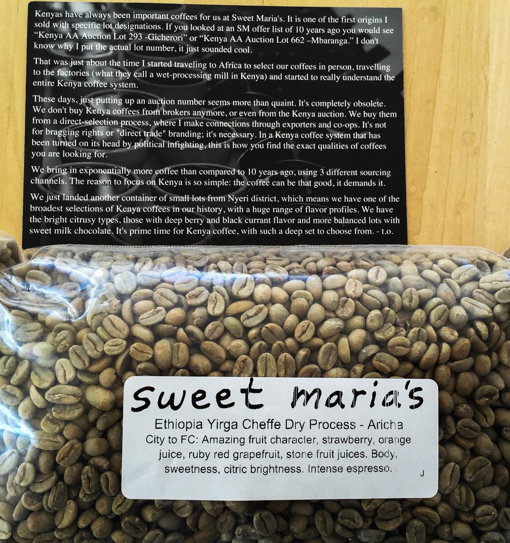 this is the new bean. we prefer ethiopians.the post card is always included in the shipment; a different one each time.