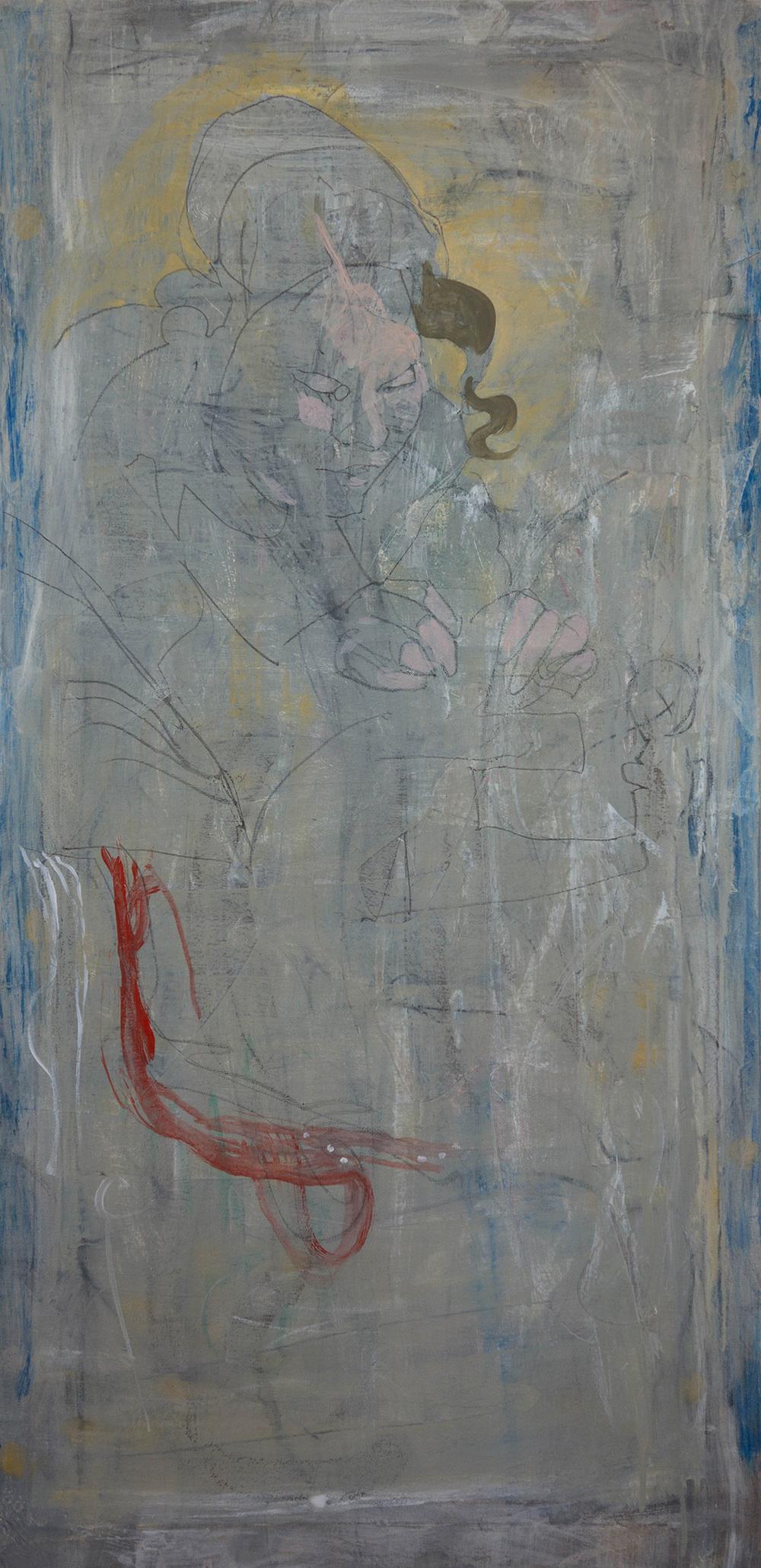 "grey 3  48x24"" mixed media on canvas"