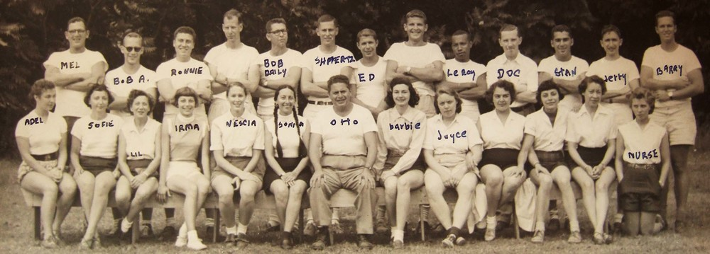 the birchwoods staff in 1953, with sonya and otto in the center