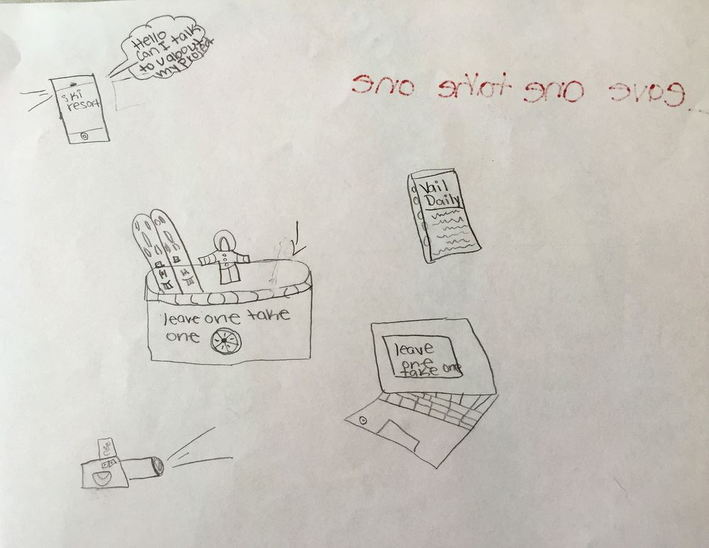 "5th grader sketch of their ""leave one take one"" recycling project idea"