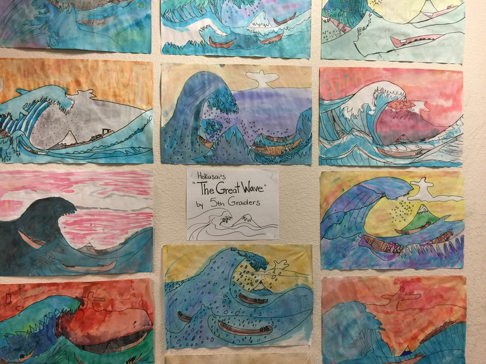 "5th grader's interpretation of hokusai's ""the great wave"""