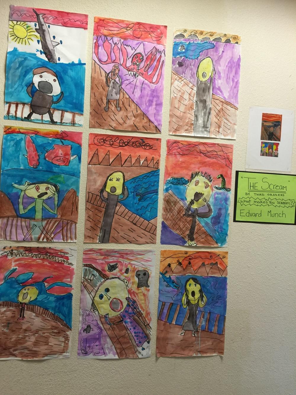 """5th grader's interpretation of munch's """"the scream"""""""