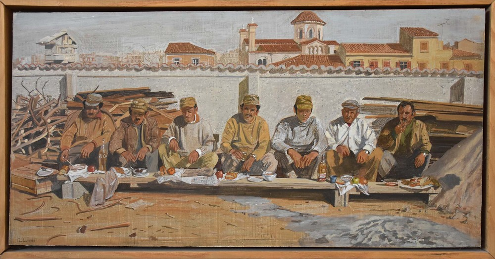 "workmen having lunch,  1978 egg tempera on board 12x24"" collection of the artist"