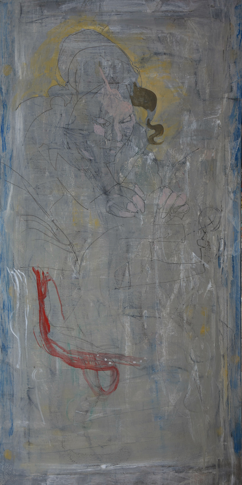 "grey 3/the lacemaker   48x24"" mixed media on canvas as it looked before starting to paint this morning"