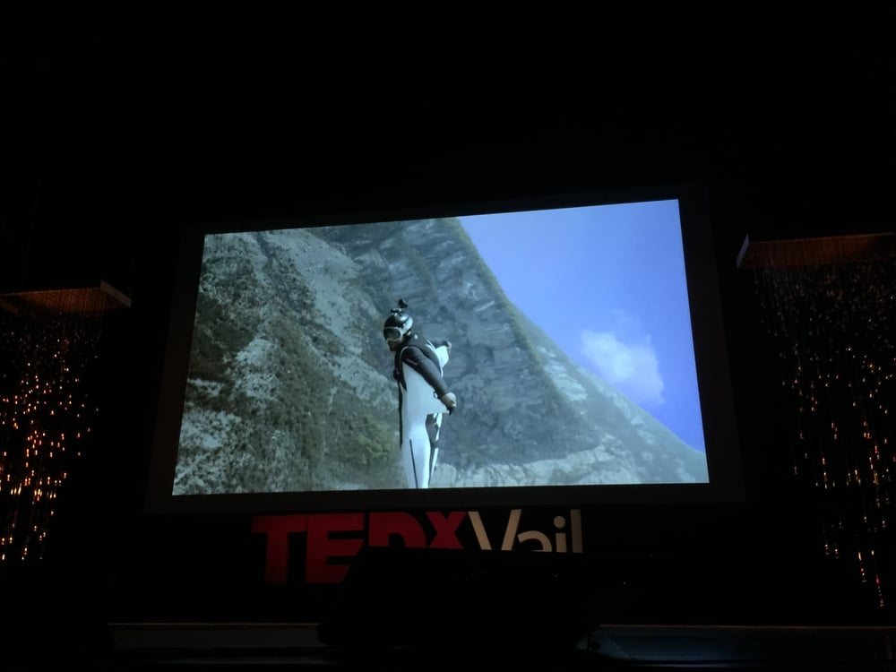 one of the speakers who jumps off cliffs and flies