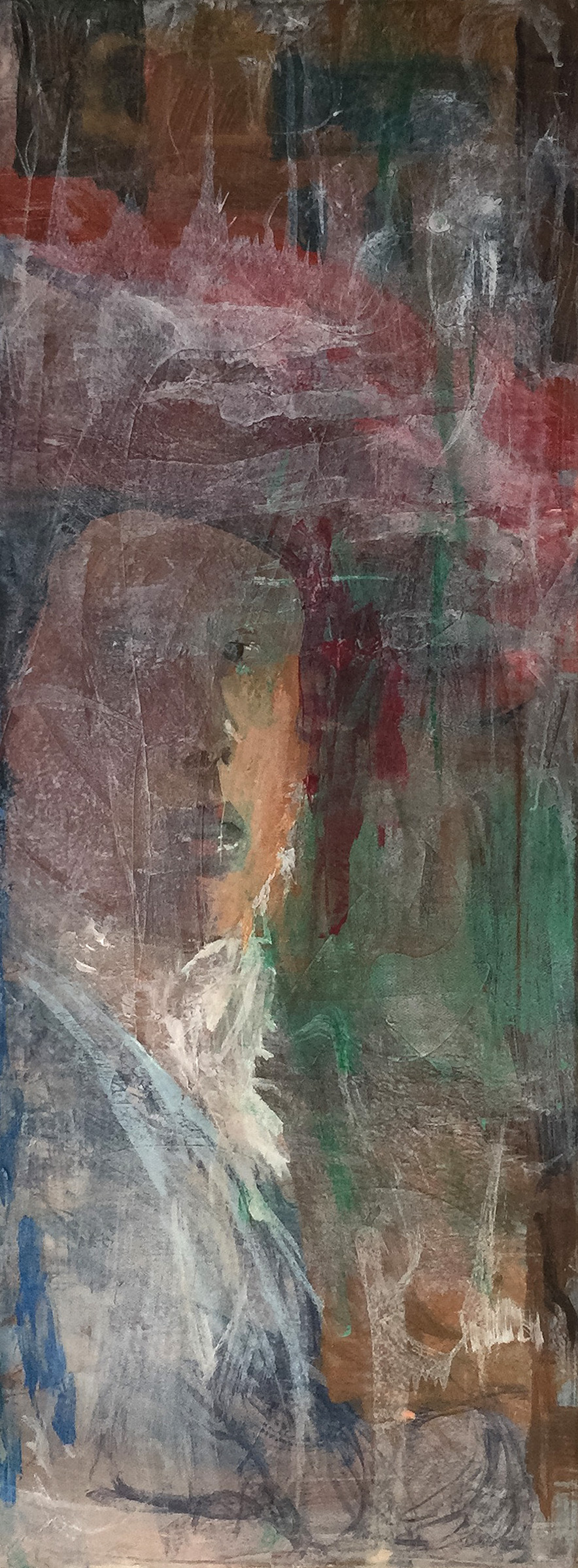 "grey7/the girl with the red hat   48x18""  mixed media on canvas"