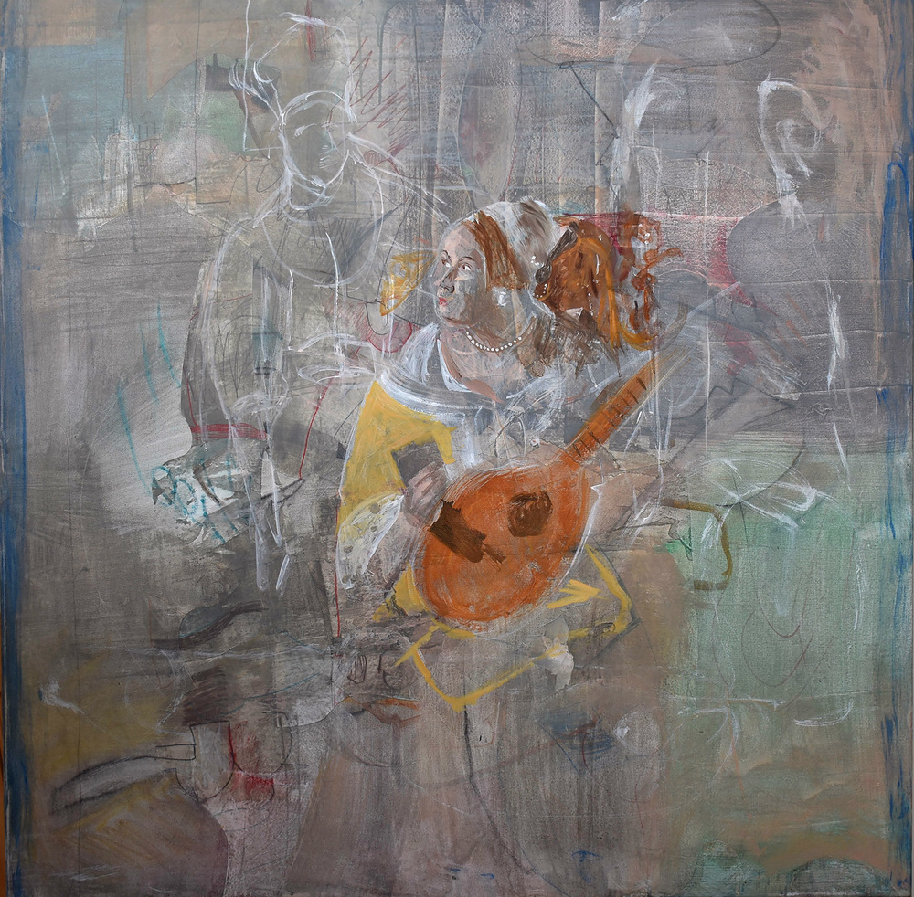"""1/2/16  grey 6 , the love letter, 38x38"""" in an early state"""