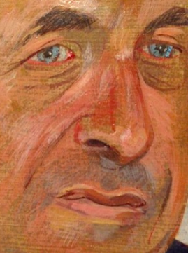 detail of a 1982 commissioned portrait in egg tempera