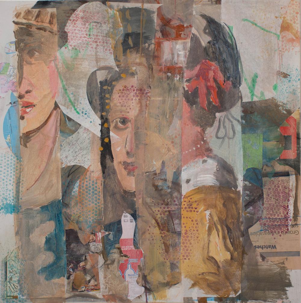"grey 23  38x38"" mixed media on canvas, at 2 pm"