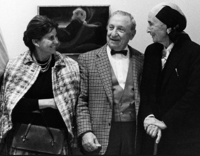 joe & olga hirshhorn with georgia o'keefe in 1977.