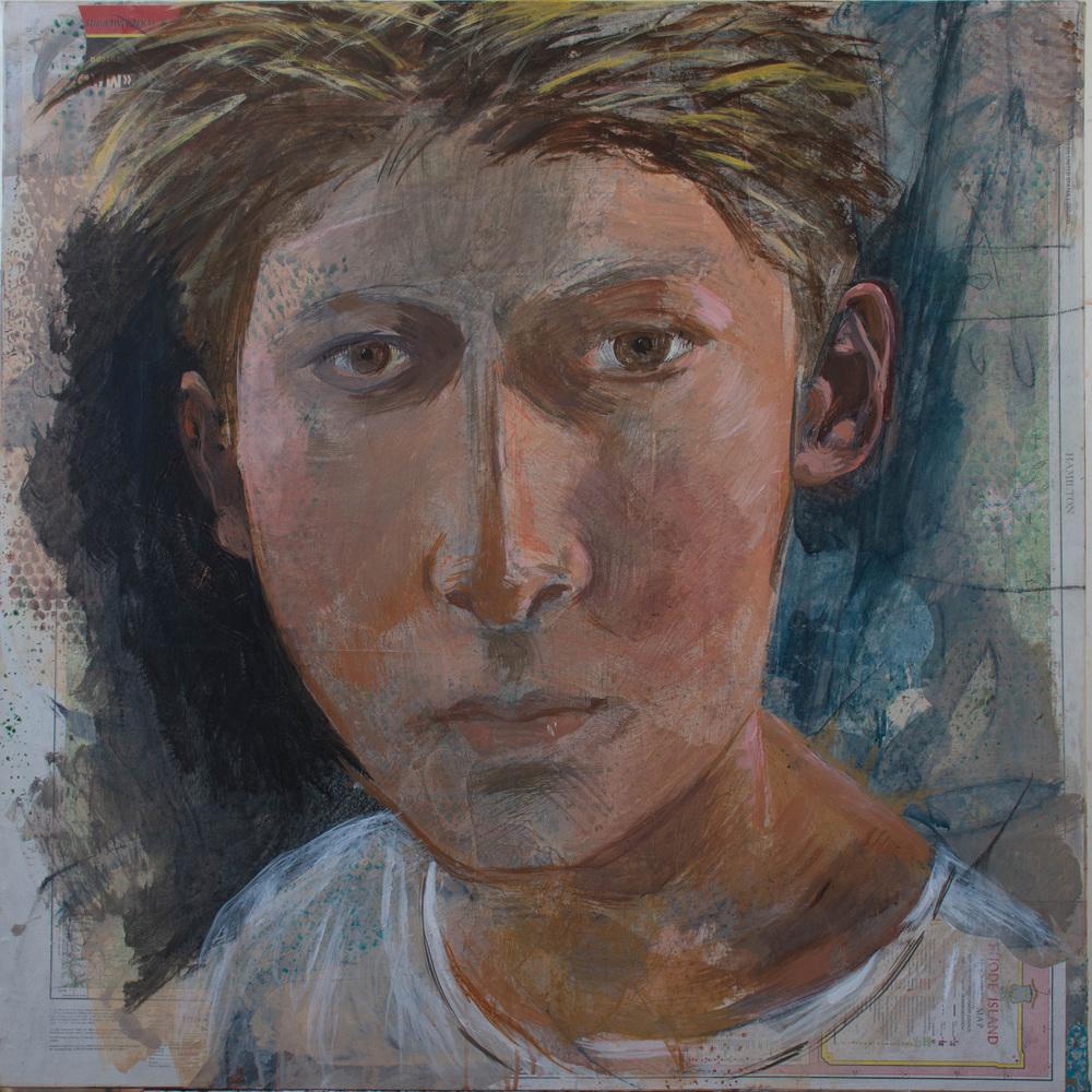 """gaze 28  38x38"""" mixed media on canvas"""