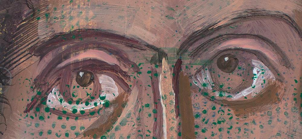 """DETAIL: gaze 33, 38x36"""" mixed media on canvas"""