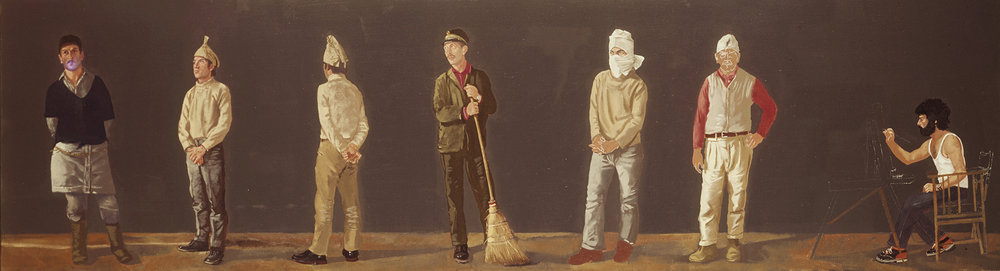 "the lost painting:  the artist with 6 workmen  1974 oil on linen 26 x 80"" the painting is not complete, as you can see by the unpainted face of the workman on the right."