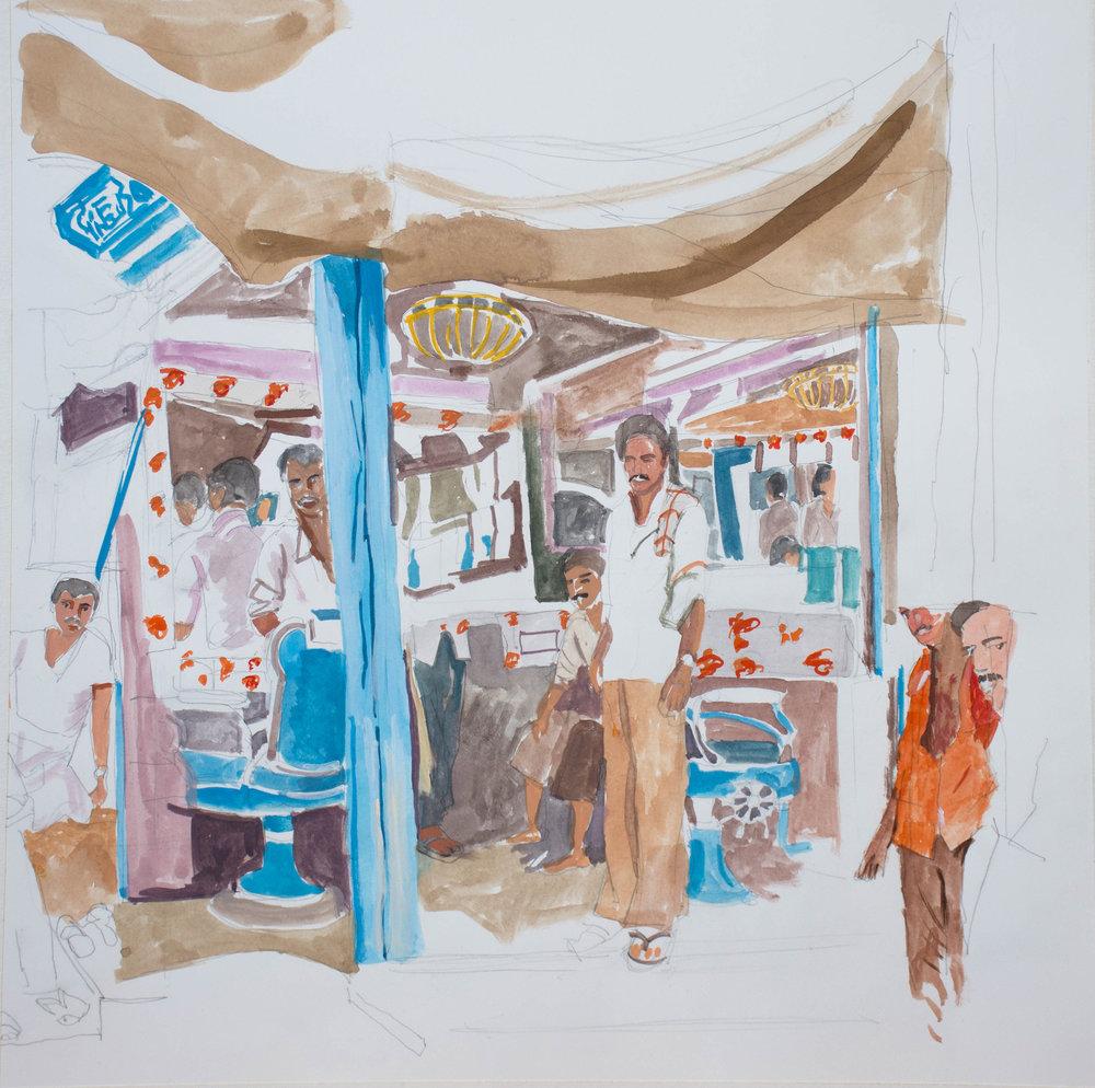 "gouache interior 5  14x14"" gouache on archival watercolor paper."