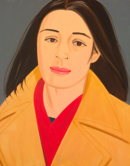 alex katz,  girl with the red scarf ,oil on canvas 60 by 48 in. 152.4 by 121.9 cm. Executed in 1976.