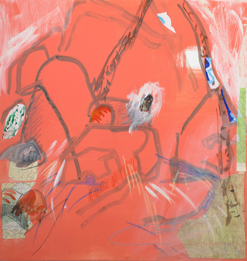 """red orange  38x36"""" acrylic, crayon & collage on canvas"""