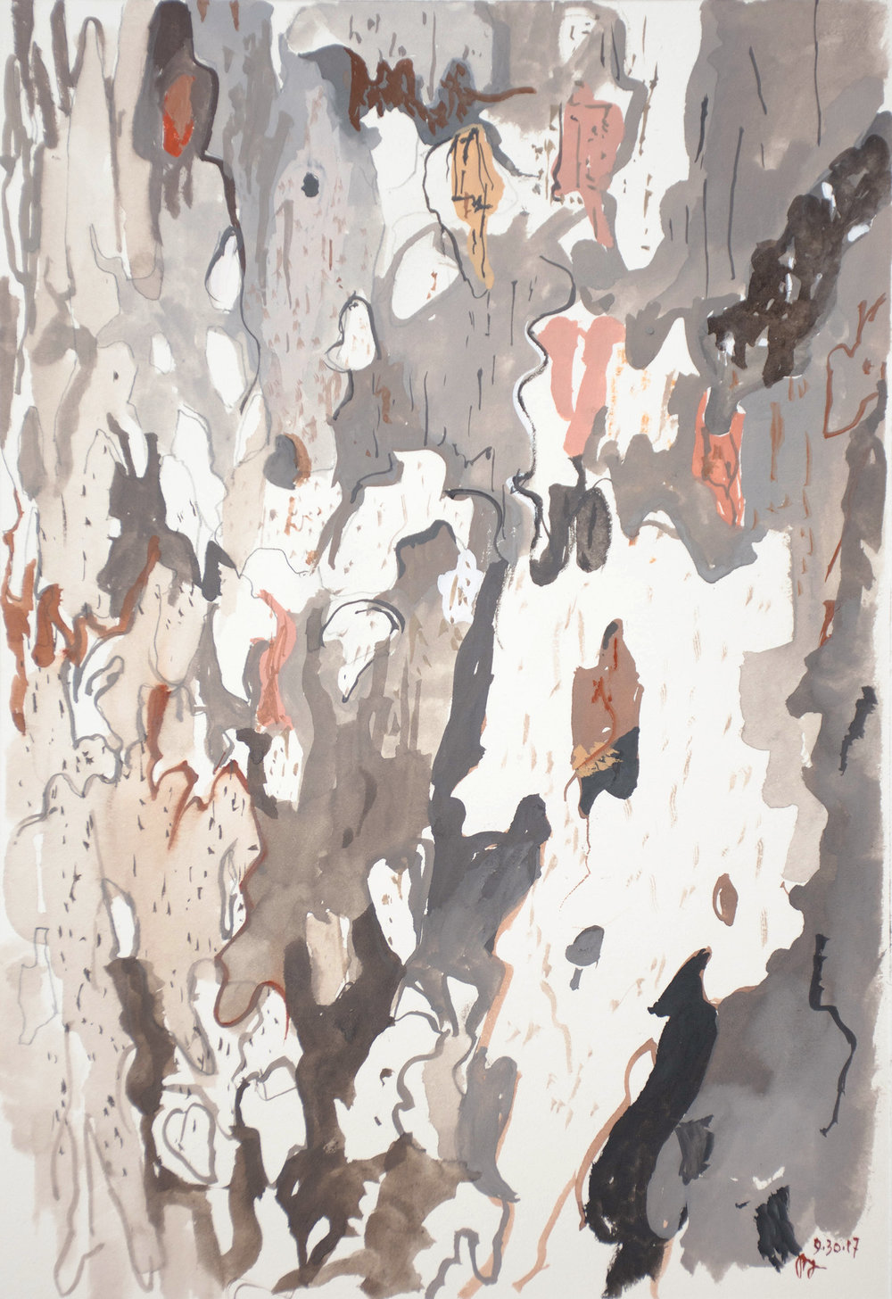 study of tree bark  25.2x17.2cm  gouache on paper