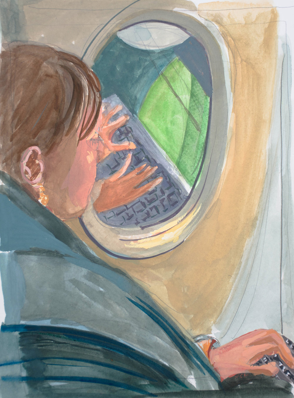 """woman typing on a plane, gouache on paper 10x7.5"""""""
