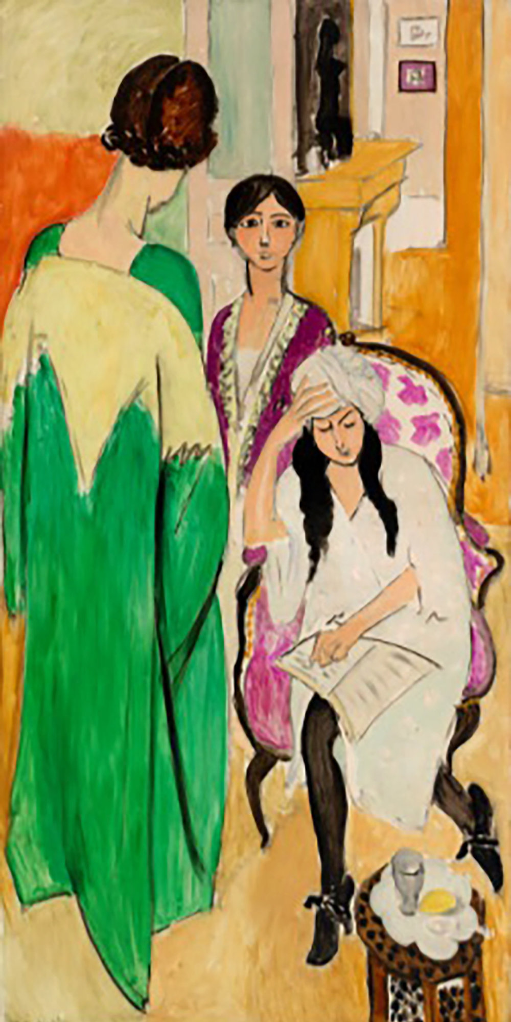 Henri Matisse. Three Sisters with an African Sculpture (Les Trois sœurs à la sculpture africaine), between May and mid-July 1917. Oil on canvas, Overall: 77 1/8 x 38 1/4 in. (195.9 x 97.2 cm). BF363. In Copyright. ©2017 Succession H. Matisse / Artists Rights Society (ARS), New York.