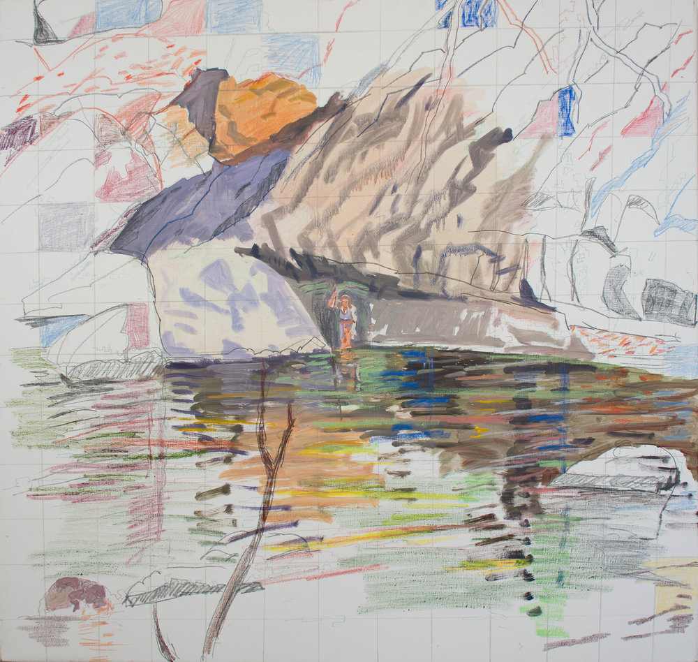 "woman in landscape 1 38x36""  oil, graphite & crayon on linen"