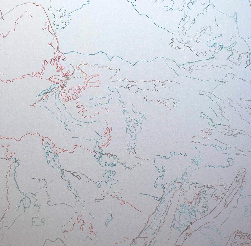 "drawing for landscape series 2, 36x38"" colored pencil on portrait linen."