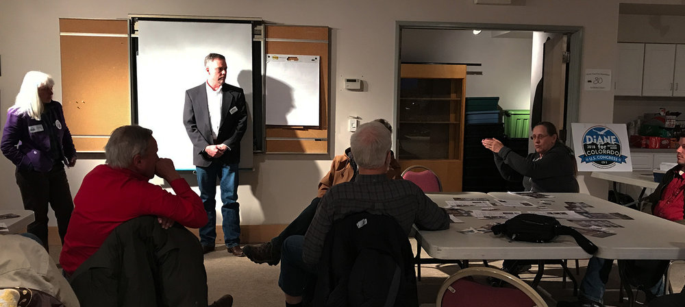 at the end of the meeting last night in monte vista, the candidates stood in front of the room to make their closing statements