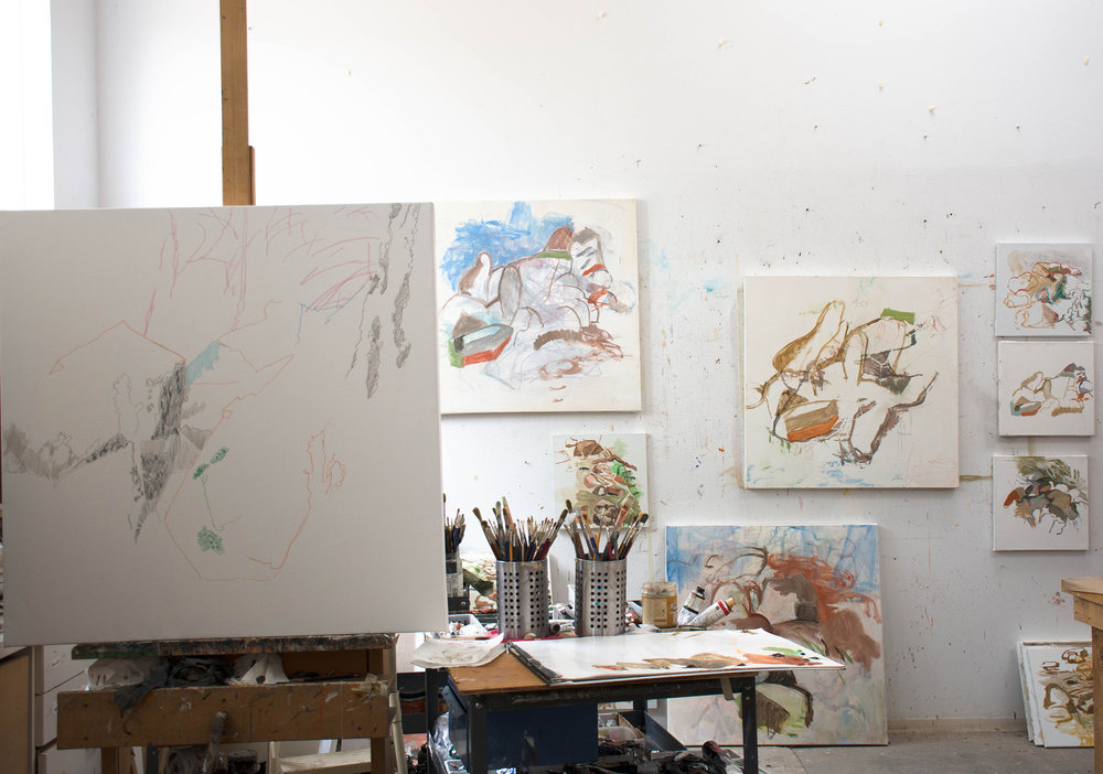 studio interior at 2 pm, an early stage of the  motion 17  under-drawing on the easel . on the wall the just completed  motion 16