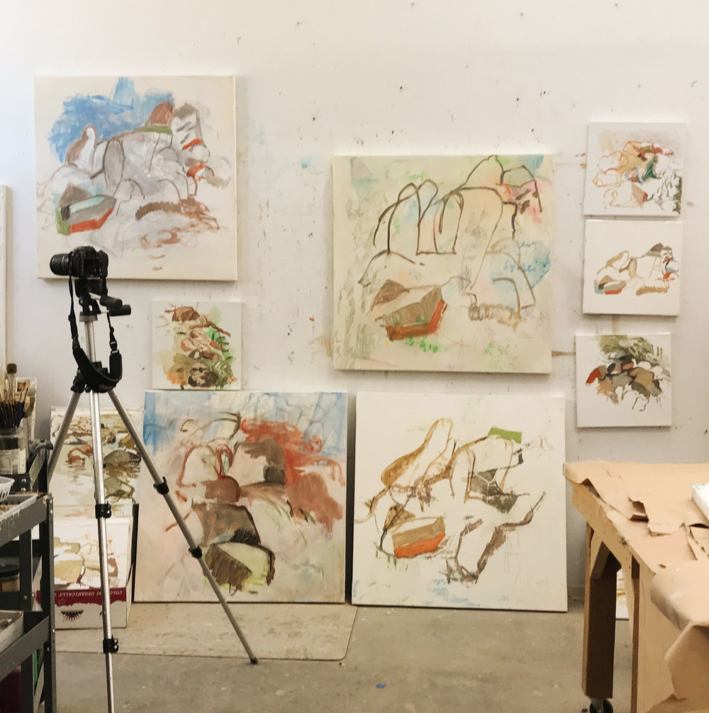 my studio at 11 am, with yesterdays  motion 17  on the wall, in the middle just to the left of the 3 plein air oils