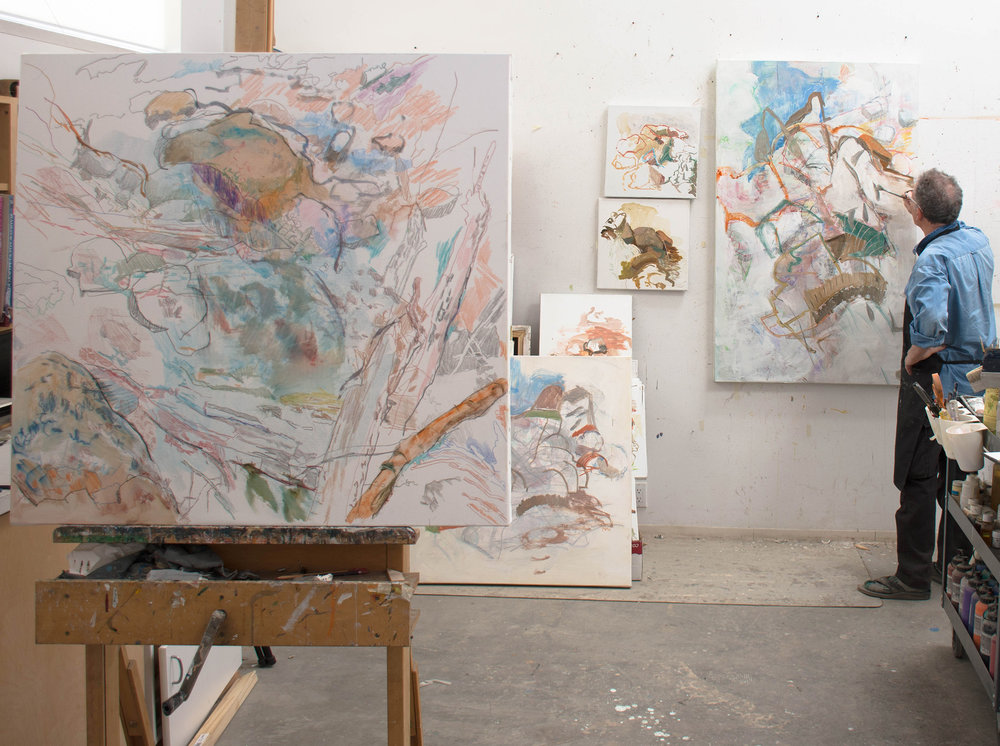 at work on both paintings at noon today